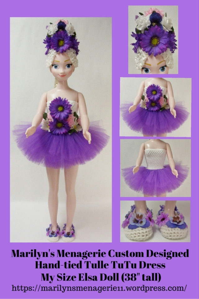 Aqua Hand-tied TuTu Dress Ensemble Fits Frozen My Size Elsa Doll (38″ tall).